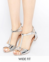 New Look Wide Fit T Bar Flat Sandals Silver