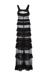 Isabel Marant Tuline Tiered Maxi Dress Black