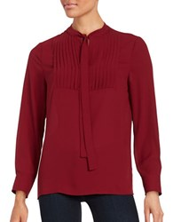 Vince Camuto Tie Neck Pleated Tuxedo Blouse Malbed Red