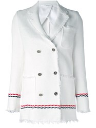 Thom Browne Double Breasted Jacket Women Silk Cotton 42 White