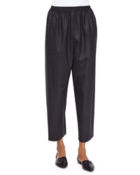 Eskandar Japanese Tapered Leg Cropped Trousers Charcoal