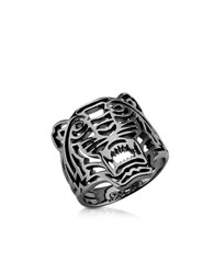 Kenzo Ruthenium Plated Sterling Silver Cut Out Small Tiger Ring