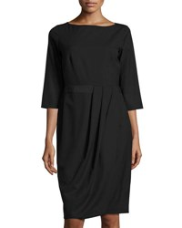 Lafayette 148 New York Delfino Ruched 3 4 Sleeve Dress Black