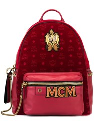 Mcm Logo Print Patched Backpack Red
