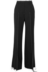 Calvin Klein Collection Frayed Stretch Crepe Wide Leg Pants Black