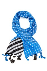 Cara Accessories Stripe And Polka Dot Scarf Blue