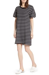 Halogen Bubble Sleeve Dress Black White Stripe