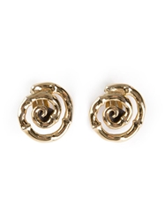 Yves Saint Laurent Vintage Bamboo Spiral Earrings Metallic