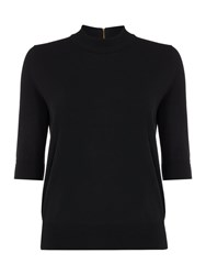 Biba Short Sleeve Touch Of Cashmere Turtle Neck Black