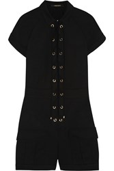 Roberto Cavalli Lace Up Stretch Cotton Playsuit Black