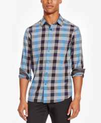 Kenneth Cole Reaction Men's Large Check Flannel Shirt Patriot Blue Combo
