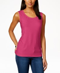 Jm Collection Scoop Neck Textured Jacquard Tank Top Only At Macy's Radiant Pink