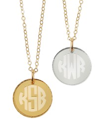Hartford Mirrored Acrylic Reverse Monogram Pendant Necklace Moon And Lola Silver