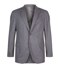 Zilli Leather Trim Wool Cashmere Jacket Male Light Grey