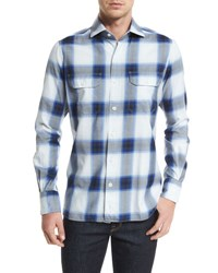 Tom Ford Grand Check Classic Fit Sport Shirt Blue White