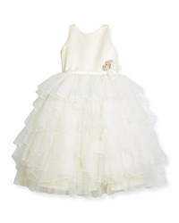 Joan Calabrese Satin And Tiered Tulle Special Occasion Dress Ivory