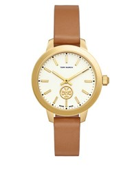 Tory Burch Collins Round Leather Band Analog Watch Brown