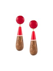 Marni Large Drop Clip On Earrings Red