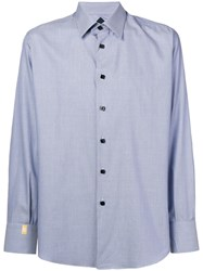 Billionaire Geometric Patterned Curved Hem Shirt Blue