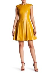 Gracia Faux Leather Pleat Dress Yellow