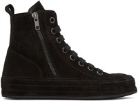 Ann Demeulemeester Black Suede High Top Sneakers