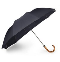 London Undercover Wood Handle Telescopic Umbrella Navy