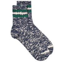 Anonymous Ism 3 Line Slub Socks Blue