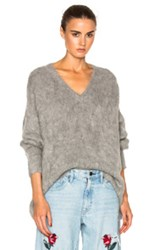 Frankie Varsity Oversized V Neck Sweater In Gray