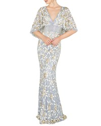 Mac Duggal V Neck Floral Sequin Metallic Column Gown W Cape Platinum Gold