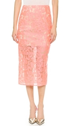 Veronica Beard Embroidered Pencil Skirt Neon Pink Nude