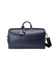 Gucci Signature Leather Duffle Men Leather Metal Microfibre One Size Blue