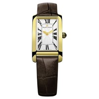 Maurice Lacroix Fa2164 Pvy01 114 Women's Rectangular Croc Leather Strap Watch Brown White