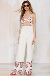 Nasty Gal Bohemian Bones Cadillac Embroidered Jumpsuit