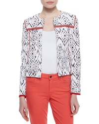 Indikka Ikat Print Stretch Knit Jacket Black White