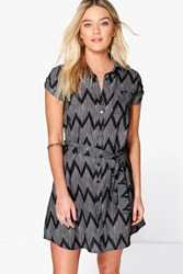 Boohoo Short Sleeve Shirt Dress Black