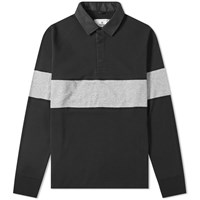 Reigning Champ Stripe Insert Rugby Shirt Black
