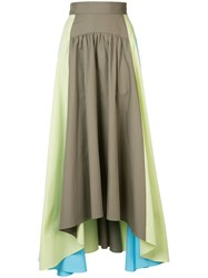 Peter Pilotto Asymmetric Hem Full Maxi Skirt Women Cotton 12 Green