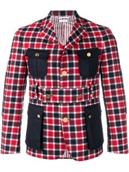 Thom Browne Norfolk Fun Mix Box Check Sport Coat Red