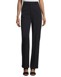 Vince Wide Leg Wool Blend Trousers Navy