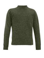 Schnayderman's Crew Neck Mohair Blend Sweater Green