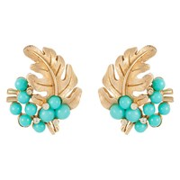 Susan Caplan Vintage 1950S Trifari Gold Plated Lucite And Swarovski Crystal Leaf Clip On Earrings Gold Turquoise