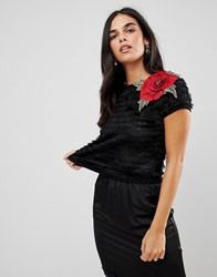 Traffic People Textured Cropped Top With Rose Applique Black