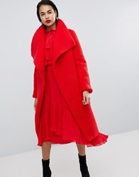 Missguided Waterfall Teddy Coat Red