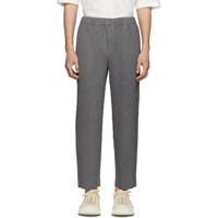 Homme Plisse Issey Miyake Grey Wool Like Tailored Pleats Trousers