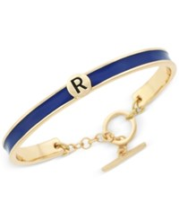 Bcbgeneration Gold Tone Love Letter Initial Bangle Bracelet Yellow Dark Blue R