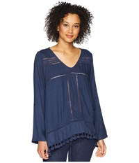 Dylan By True Grit Riley Roll Long Sleeve With Tab And Crochet Tassels Indigo Long Sleeve Pullover Blue