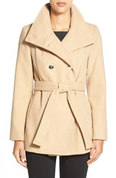 Calvin Klein Belted Double Breasted Coat Petite Light Camel