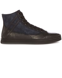 Hogan Rebel Navy And Black 141 Nubuck And Leather High Top Sneakers Blue