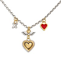 Sophie Harley London Vintage Heart Necklace Red Gold Silver