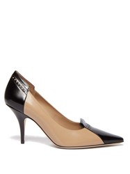 Burberry Eldmon Brogue Style Two Tone Leather Pumps Black Beige